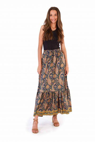 Womens Francesca Skirt - Navy Gold front