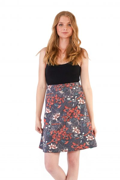 Womens Reversible Skirt - Morning Bloom Ink / Morning Bloom Green front close