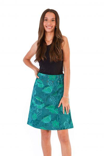 Womens Reversible Skirt - Lotus Black / Lotus Green front close