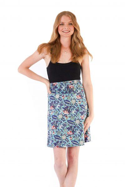 Womens Reversible Skirt - Light Blue Block Print / Dark Blue Block Print front close