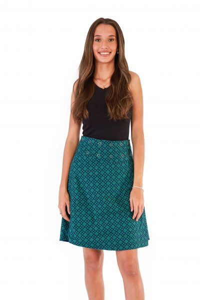 Womens Reversible Skirt - Blue Green Check / Triangle Blue Green front close