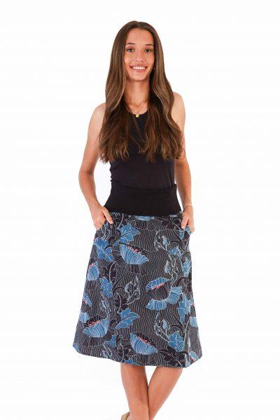 Womens Janaki Reversible Skirt Black front blue