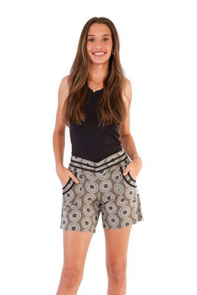 womens Devi Shorts - Grey Flower