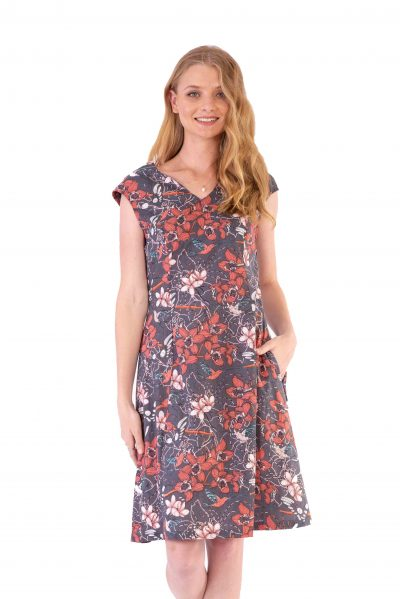 Womens Gracie Dress - Morning Bloom Ink front close