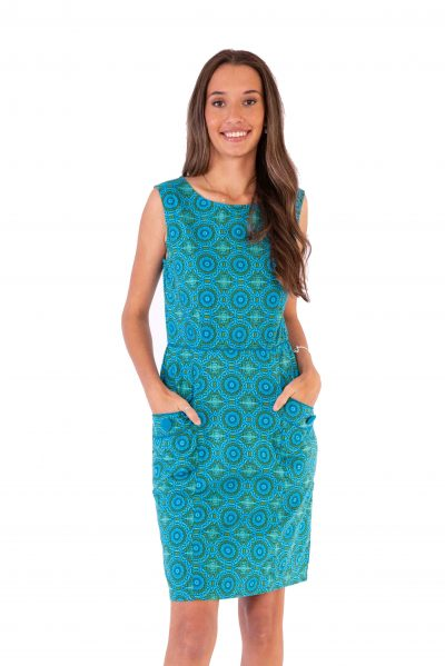 Womens Sydney Dress - Aztec Turquoise front
