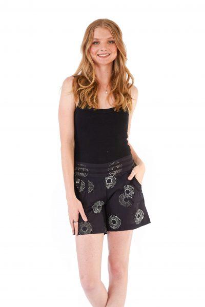 womens Devi Shorts - Black Sunflower
