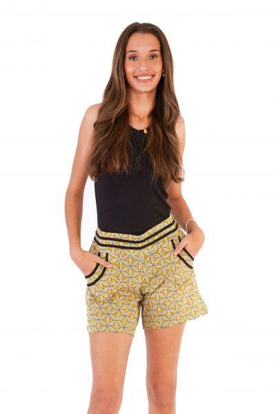 womens Devi Shorts - Mustard Block Print