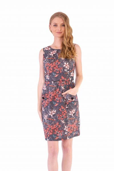 Womens Sydney Dress - Morning Bloom Ink front