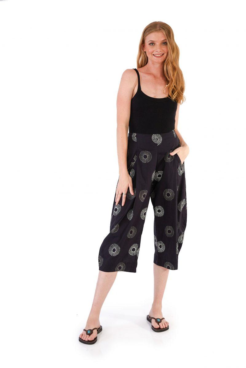 womens Hendrix Pants - Black Sunflower