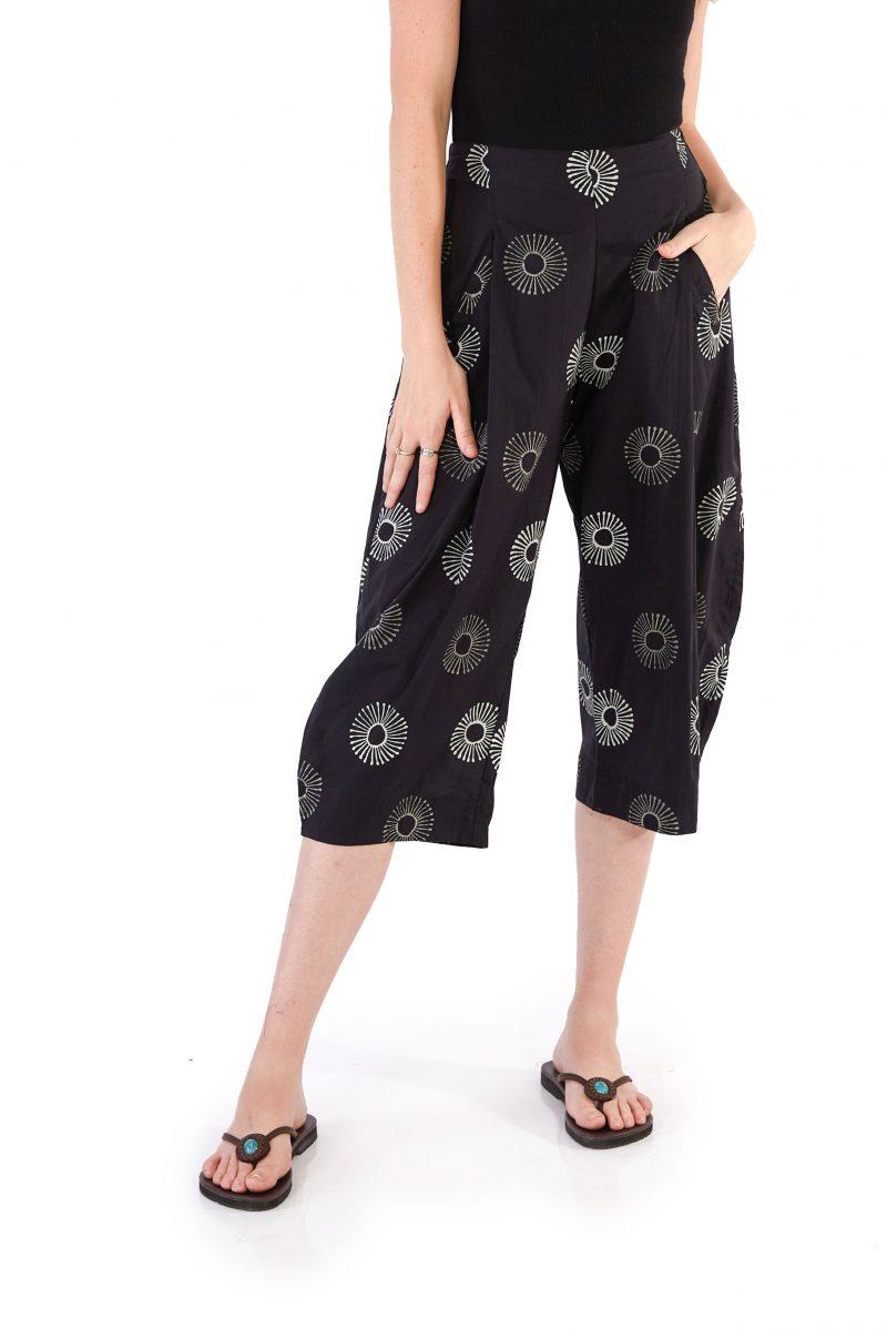 womens Hendrix Pants - Black Sunflower front