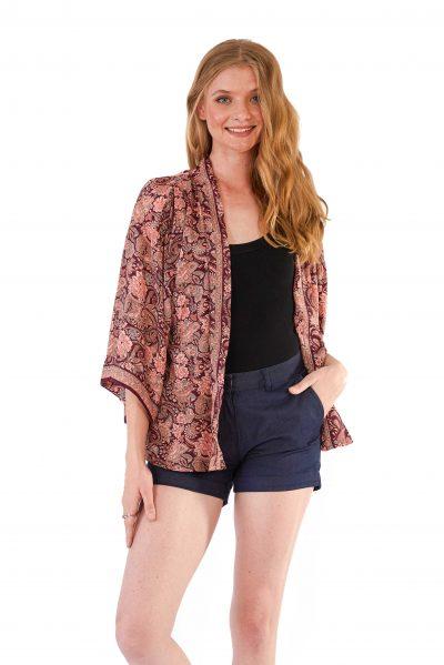 Womens Kimono Jacket - Burgundy