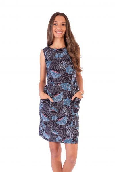 Womens Sydney Dress - Lotus Black front