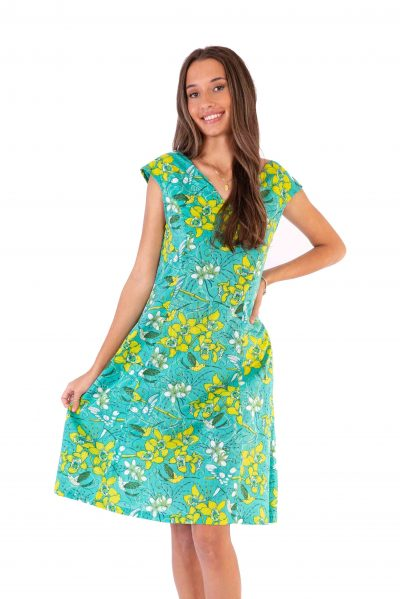 Womens Gracie Dress - Morning Bloom Green front close